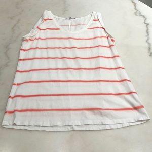 Gap cotton orange/pink stripe rolled cuff tank. S